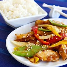 Sesame Chicken for Slow Cooker.  See reviews for good tips.
