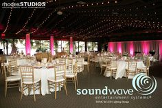 Beautiful wedding at orlando's Mission Inn Resort, marina pavilion, with LED lighting to give a pop of color.  Photo by Rhodes Studios, lighting by Soundwave  #missioninn #orlandowedding #orlandodj #orlandoweddingdj #orlandoweddinglighting #orlandowedding #soundwave #weddinglighting