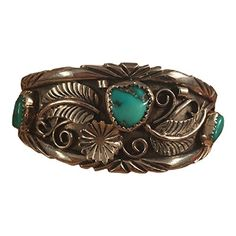 This incredible vintage piece. This cuff is made of Sterling Silver and Morenci Turquoise. It is 5 1/2 inches inside width with a 1 inch gap. This piece is 1 inch wide and is signed by the artist. ......