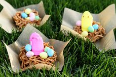 Easy Easter Peeps Edible Bird Nests - I shaped mine in a large muffin pan.  They get really sticky so I coated everything in nonstick spray including my hands!