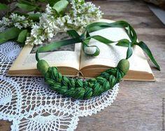 necklace green braid plait pigtail plat natural silk от batikelena