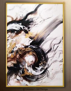 Oil Painting, Original Oil Painting Abstract Modern On Canvas Gold Leaf Large Wall Handmade Art by Victoria's Art Design Oil Painting Abstract, Acrylic Painting Canvas, Oil On Canvas, Abstract Art, Victoria Art, Art Texture, Painting Process, Art Design, Original Paintings