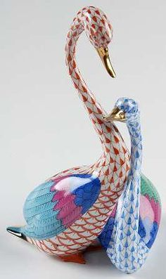 Herend Hand Painted Porcelain Figurine Swan Pair Rust Blue Fishnet Gold Accents.
