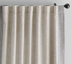 "Emery Framed Border Linen Drape, 50 x 108"", Flax/Charcoal"