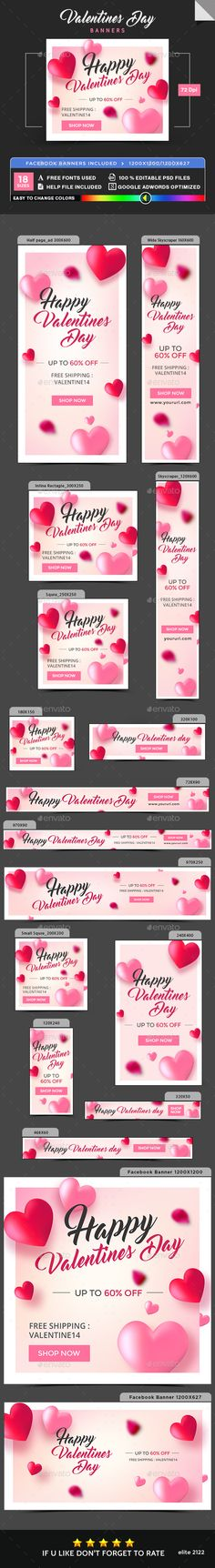 Valentines Day Banners - Image Included - Template PSD