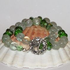 Moss Quartz Bracelet With Green Faceted Beads And Humming Bird Clasp