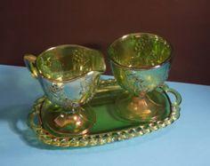 Vintage Lime Depression or Carnival Glass Set
