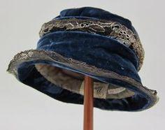 Cloche Date: 1920/1925 Creator: The Denver Dry Goods Co. (Denver, Colorado) Description: Cloche hat of royal blue velvet and silver lace. UNT Digital Library/UNT College of Visual Arts + Design