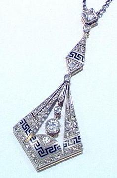 Art Deco Enamel & Diamond Pendant 1920's