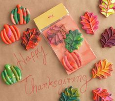 """Leaf-Shaped Crayons - recycle broken crayons by baking them in fall shaped silicone trays. Then cover the """"kids table"""" with craft paper and let them put those festive-shaped crayons to work! Thanksgiving Crafts, Christmas Crafts For Kids, Thanksgiving Decorations, Fall Crafts, Holiday Crafts, Holiday Fun, Diy Crafts, Christmas Projects, Christmas Ideas"""