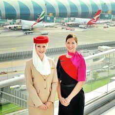 The #Qantas &# Emirates Partnership ✈️ ____________________ #unitedbywings #Emirates #Qantas #worldunited #cabincrew #crew #hostess #airhostess #stewardess #crewlife #ekcrew #travel #traveller #cabins #firstclass #uniform #mirandakerr #simonjersey #Austalian #Dubai #partnership #airport #boeing #dubaistopover #airline #facts #globalalliance