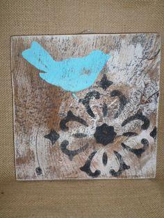 Reclaimed Shabby Decor Rustic Simple Wood Blue Aqua Birds Wall  Sign on Old Barn Wood