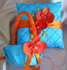Turquoise and Orange Weddings Flower Girl Basket and Ring Bearer Pillow , Destination Wedding Orange Orchid Accessories, Pintuck Taffeta