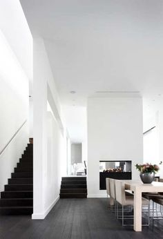 dark stain , nice contrast to the white walls