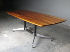 Southern Yellow Pine Dining Room Table With Eames Segmented Table Furniture base.