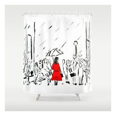 The Girl In The Red Rain Coat (part 1)  Fine Art A… Shower Curtain ($68) ❤ liked on Polyvore featuring home, home decor, window treatments, curtains, shower curtains, red shower liner, bright red curtains, red window treatments, red home accessories and red home decor