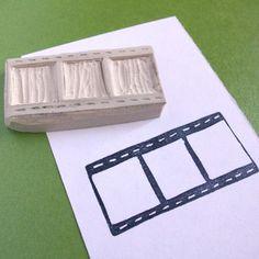 hand carved film strip stamp