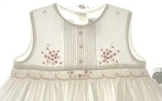 Sarah Louise Ivory Smocked Sleeveless Dress with Pintucks and Peach Rosebuds