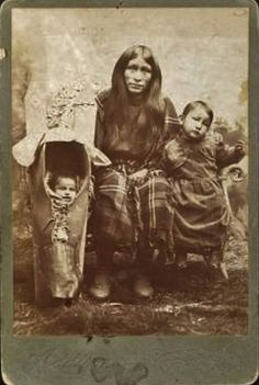 Comanche mother and her children at Fort Sill in Oklahoma - circa 1900