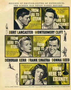 From Here to Eternity - Drama about life in the Army in the days prior to World War II. Shows the effect of Army discipline on an individualistic former boxing champion who defies the attempts of officers and men to break him when he refuses to fight on the company's boxing team. Includes actual scenes of the Japanese attack on Pearl Harbor.