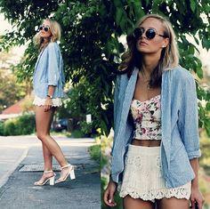 denim/flowers/lace