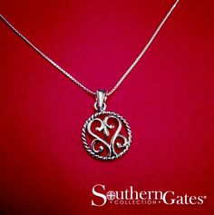 Southern Gates® Heart Scroll & Rope pendant (P835)