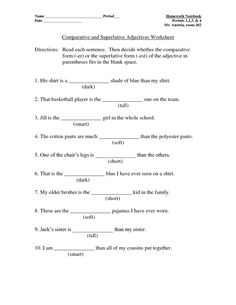 Sports Themed Comparative and Superlative Adjectives Worksheet ...