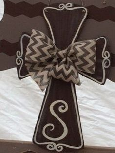Painted wooden Cross Door Hanger with ribbon with initial.