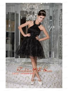 Modest Black A-line / Princess Prom / Homecoming Dress Halter Organza Beading and Ruch Mini-length- $98.99