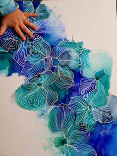 Blue Amaryllis Flower Painting Alcohol Ink Painting