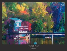 """TARRIED POND"" a scenic beauty painting done by San Francisco artist Donald Rizzo. This peaceful painting is still in his incredible fragment of color style. See more of this exciting artists work at www.Donald-Rizzo.com"