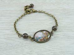 Tiny glass cabochon bracelet - Antique bronze tone chain - E. Haeckel vintage landscape print bangle
