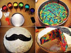 mustache rainbow cake