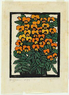 Artist: PRESTON, Margaret   Title: Platylobium   Date: 1925   Technique: woodcut, printed in black ink, from one block; hand-coloured   Copyright: © Margaret Preston. Licensed by VISCOPY, Australia from Australian Prints + Printmaking.