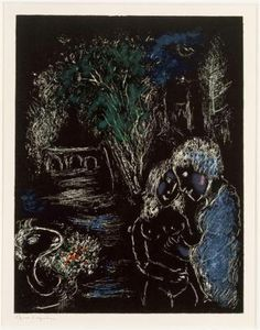 A green tree with lovers - Marc Chagall, 1980