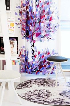 Vallila Interior Aronia curtain, one of my favourite curtains! Tree Curtains, Panel Curtains, Purple Trees, Scandinavian Living, Nordic Design, French Decor, Season Colors, Sweet Home, Design Inspiration