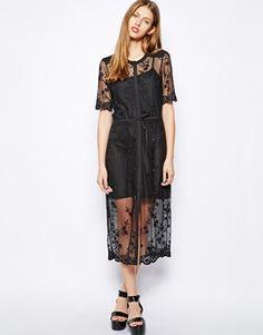 Image 1 ofWarehouse Embroidered Mesh Midi Dress
