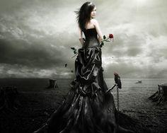 annual tree - black, girl, gothic, tree