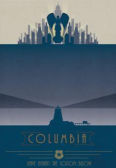 Bioshock Infinite: Columbia by mariafumada Bioshock Tattoo, Bioshock 1, Bioshock Series, Bioshock Infinite, All Video Games, Video Game Art, Columbia Bioshock, City Of Columbia, Night In The Wood