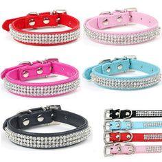 Bling Rhinestone PU Leather Crystal Diamond Puppy Collar Pet Dog Cat Collar XS-L #Unbranded