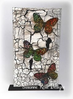 Susanne Rose Designs: Birch Tree with Butterflies Monolith with Visible Image Altered Canvas, Altered Art, Mixed Media Collage, Mixed Media Canvas, Jar Art, Dragonfly Art, Decoupage Vintage, Butterfly Cards, Diy Arts And Crafts