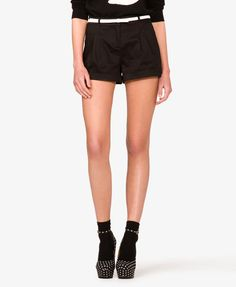 Cuffed Woven Shorts w/ Belt   FOREVER21 - 2000044032