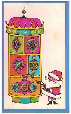 Vintage Christmas Card Mid Century Mod Santa Window Washer Medallion   eBay