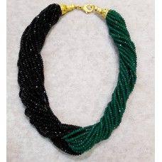 Zümrüt Yeşili Ve Siyah Renkli İthal Çek Kristali Kolye