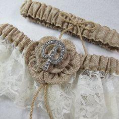 Custom Monogram Ivory Lace & Burlap Wedding Bridal Garter - Set of Two