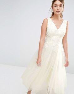 Image 1 ofChi Chi London Tulle Prom Dress With Eyelash Lace Bodice