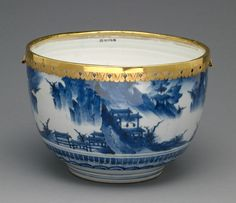 Bowl of a lidded and mounted bowl; Mounts attributed to Wolfgang Howzer (Swiss, active 1660 - about 1688); or China; porcelain about 1650 - 1680; mounts about 1680; Hard-paste porcelain, underglaze blue decoration with gilt-metal mounts; 20.5 x 38.1 x 25.5 cm (8 1/16 x 15 x 10 1/16 in.); 85.DI.178.1.2