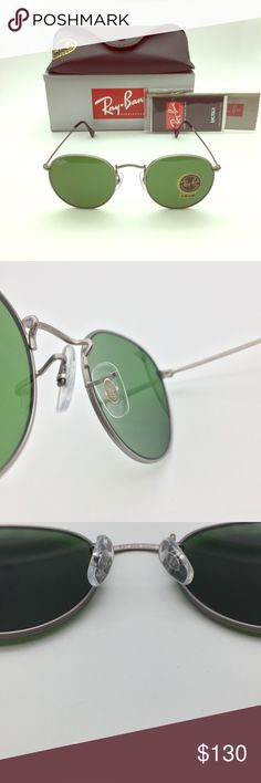 Men Round Ray-ban 3447 Gunmetal Sunglasses Ray-Ban RB3447 Men's Round Sunglasses Authentic NWT,case and box included Model: RB 3447 029 50-21 Frame Material: Metal Frame Color: Gunmetal Lenses: Green Classic G-15(Dark Green) Shape: Round Size lens-bridge: 50-21mm(standard) 100% UV Protection Made in Italy Fast shipping on next business day usually  Offers Welcome! Ray-Ban Accessories Sunglasses