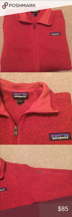 Longsleeve Patagonia Jacket This slim fit Patagonia is perfect for so many occasions! I only wore it twice so it is basically brand new. There are lots of pockets(as shown) and the red color is beautiful. The material is great and it'll keep you warm! It is a full zip up jacket! Don't be afraid to make me an offer! Patagonia Jackets & Coats