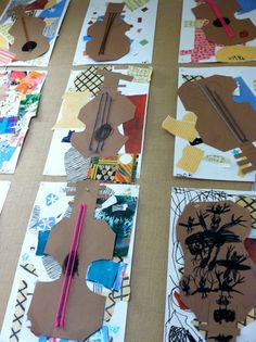 kindergarten Picasso guitars: I've done this with older students and they always turn out amazing!